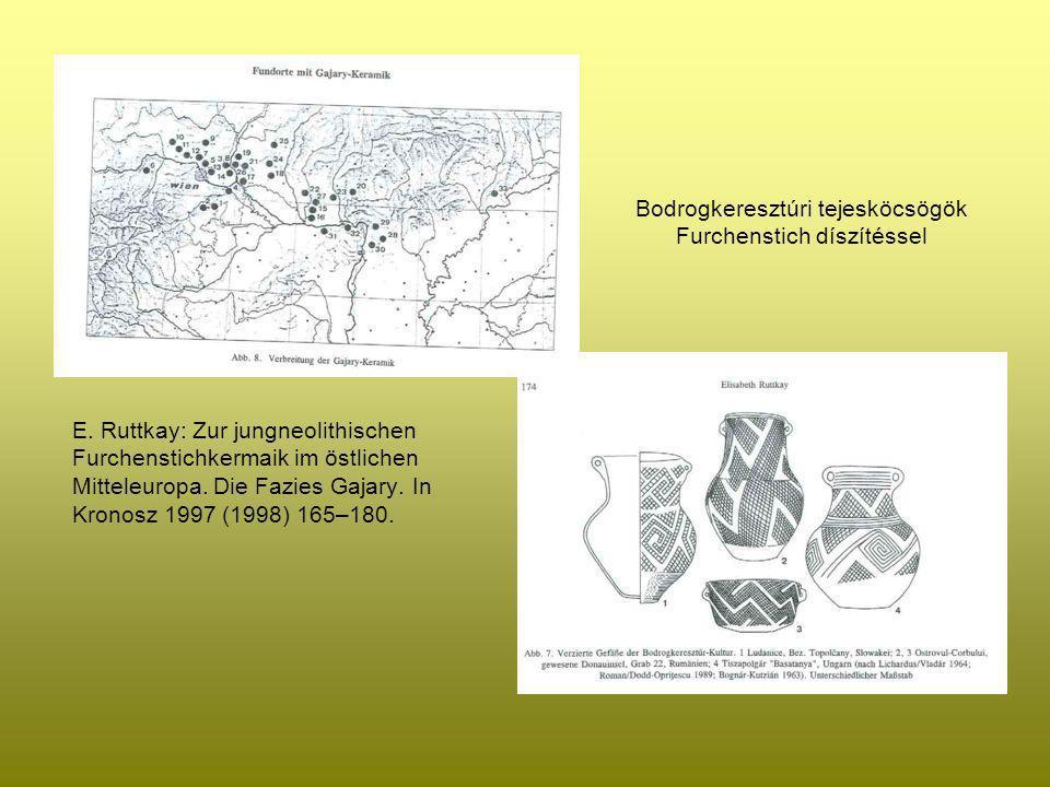 Bodrogkeresztúri tejesköcsögök Furchenstich díszítéssel E. Ruttkay: Zur jungneolithischen Furchenstichkermaik im östlichen Mitteleuropa. Die Fazies Ga