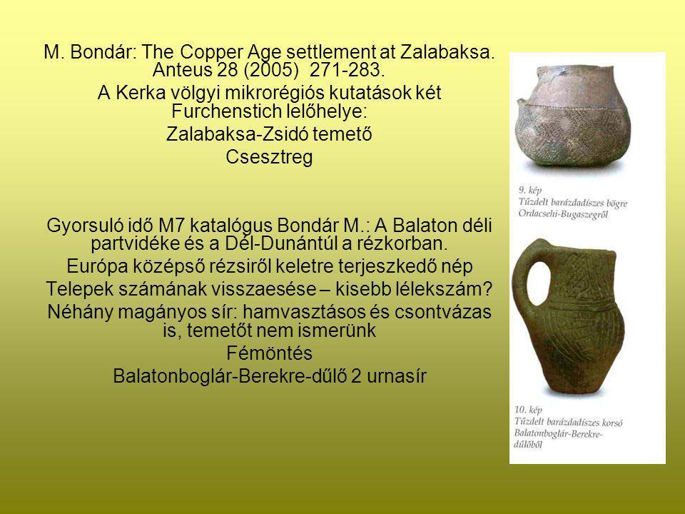 M. Bondár: The Copper Age settlement at Zalabaksa. Anteus 28 (2005) 271-283. A Kerka völgyi mikrorégiós kutatások két Furchenstich lelőhelye: Zalabaks