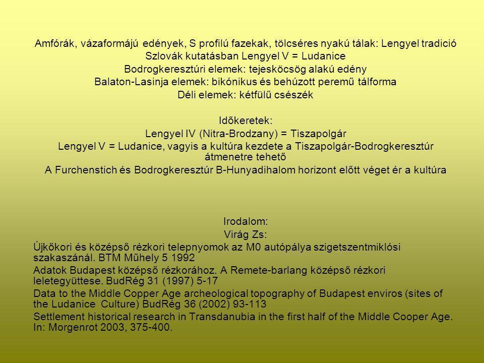Amfórák, vázaformájú edények, S profilú fazekak, tölcséres nyakú tálak: Lengyel tradició Szlovák kutatásban Lengyel V = Ludanice Bodrogkeresztúri elem