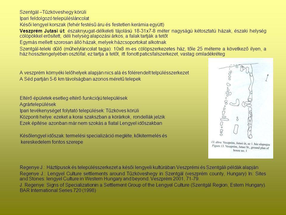 Szentgál –Tűzköveshegy körüli Ipari feldolgozó településláncolat Késői lengyel korszak (fehér festésű áru és festetlen kerámia együtt) Veszprém Jutasi