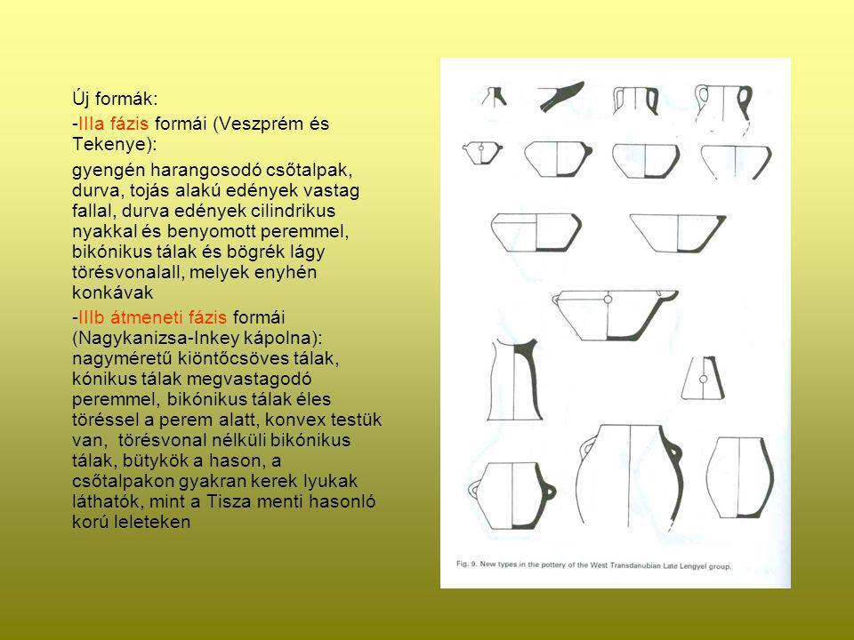 Új formák: -IIIa fázis formái (Veszprém és Tekenye): gyengén harangosodó csőtalpak, durva, tojás alakú edények vastag fallal, durva edények cilindriku