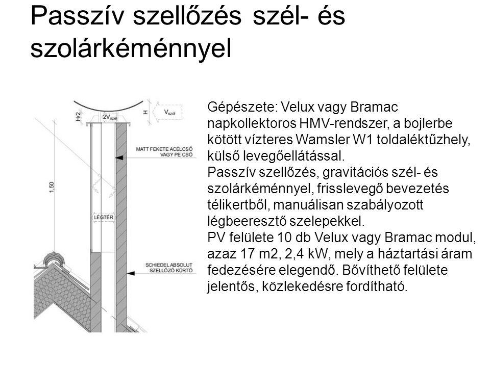 Passzív szellőzés szél- és szolárkéménnyel Gépészete: Velux vagy Bramac napkollektoros HMV-rendszer, a bojlerbe kötött vízteres Wamsler W1 toldaléktűz