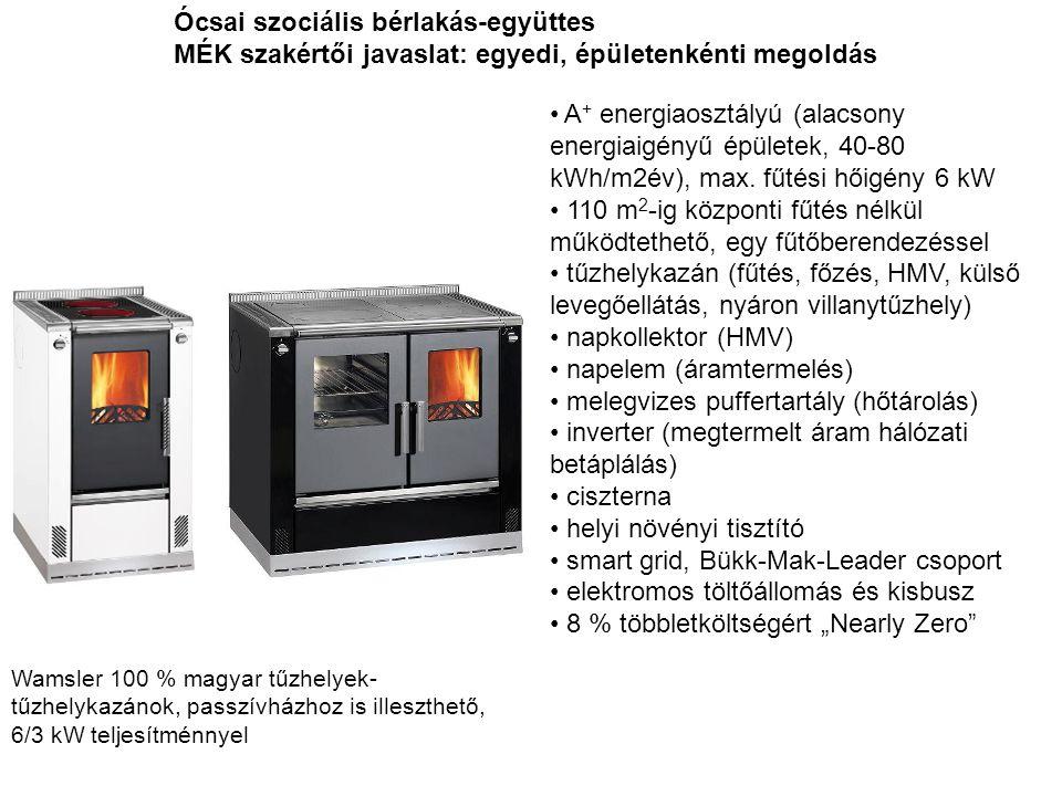 Ócsai szociális bérlakás-együttes MÉK szakértői javaslat: egyedi, épületenkénti megoldás • A + energiaosztályú (alacsony energiaigényű épületek, 40-80
