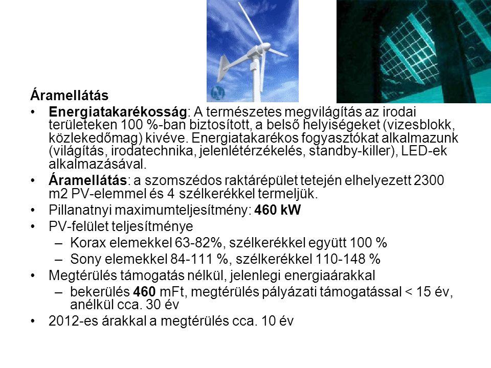 Áramellátás •Energiatakarékosság: A természetes megvilágítás az irodai területeken 100 %-ban biztosított, a belső helyiségeket (vizesblokk, közlekedőm