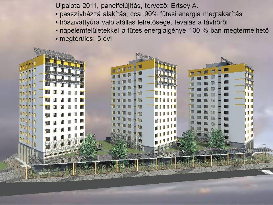 Újpalota 2011, panelfelújítás, tervező: Ertsey A. • passzívházzá alakítás, cca. 90% fűtési energia megtakarítás • hőszivattyúra való átállás lehetőség