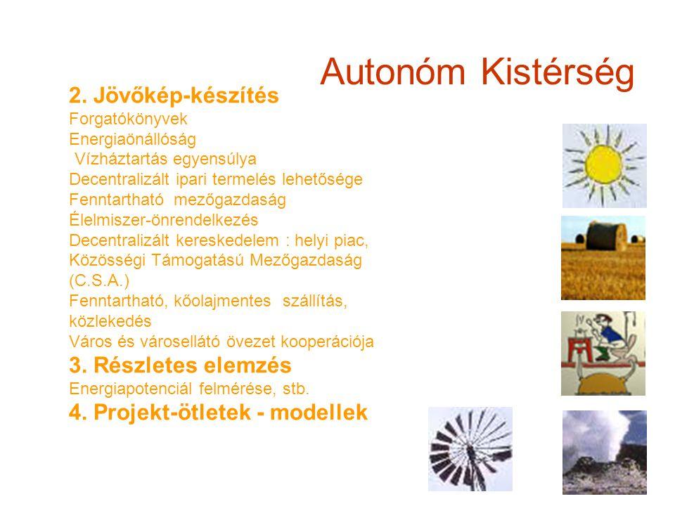 Autonóm Kistérség 2. Jövőkép-készítés Forgatókönyvek Energiaönállóság Vízháztartás egyensúlya Decentralizált ipari termelés lehetősége Fenntartható me