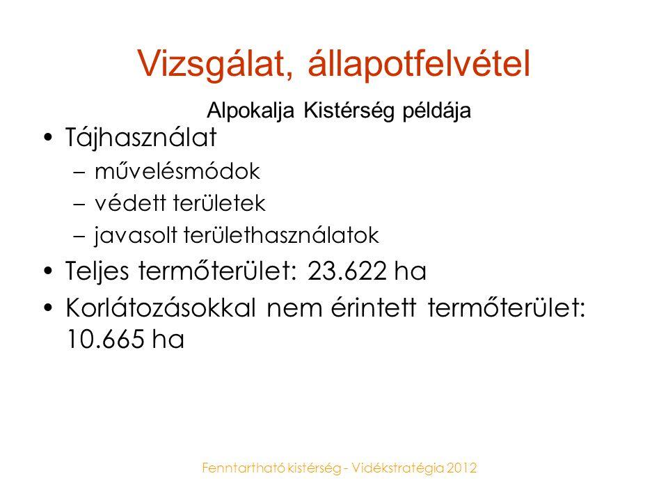 Fenntartható kistérség - Vidékstratégia 2012 Vizsgálat, állapotfelvétel •Tájhasználat –művelésmódok –védett területek –javasolt területhasználatok •Te