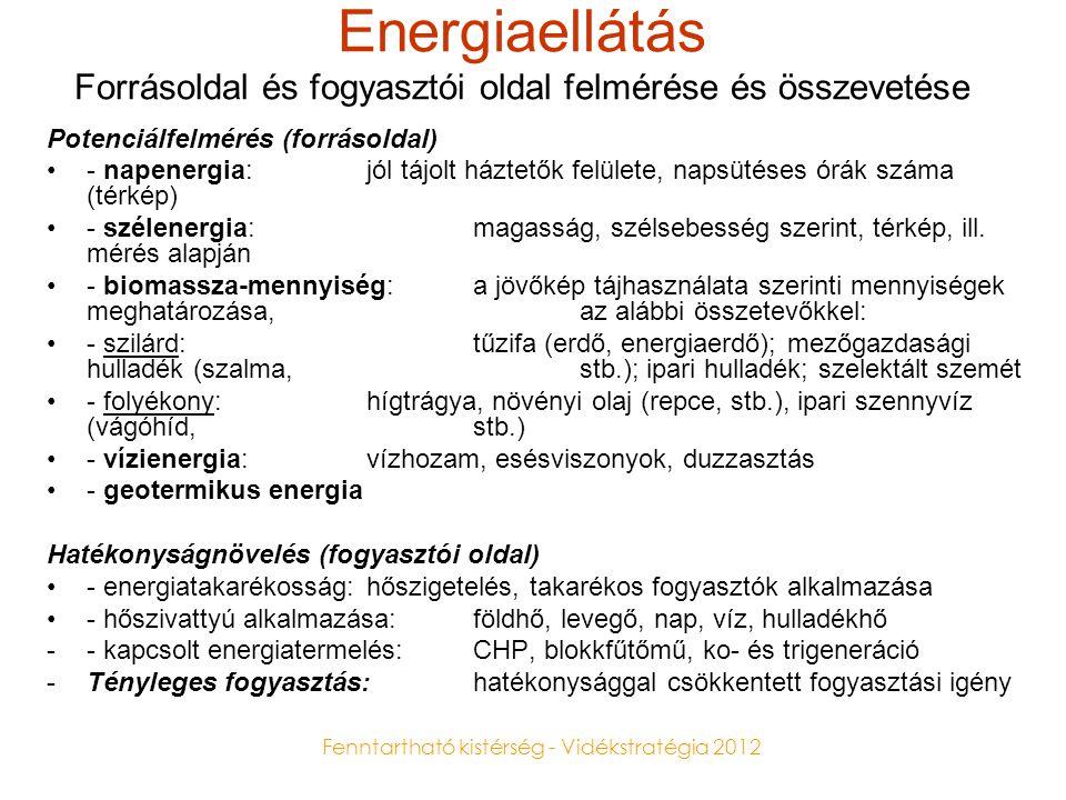 Fenntartható kistérség - Vidékstratégia 2012 Felhasználás energiafajták szerint -Napenergia: használati melegvíztermelés (HMV); fűtés: Biosolar (fafűtés + napkollektor); - áramtermelés: napelem (photovoltaikus cellák); terményszárítás •Szélenergia: áramtermelés (szélgenerátorok); vízemelés (szélkerekek) •Vízienergia: áramtermelés (turbinák, lapátos kerekek); egyéb: pl.