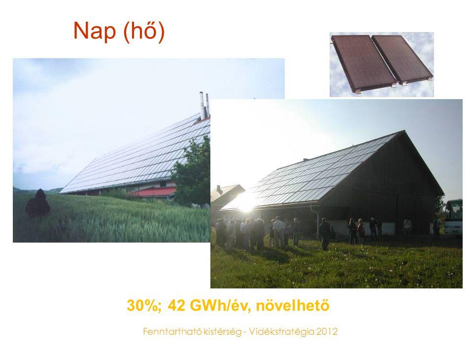 Fenntartható kistérség - Vidékstratégia 2012 Nap (áram) Potenciál: 100% felett Példák: lakóházak teljes áramigénye fedezhető, irodaházak áramigényének 5-30%-a