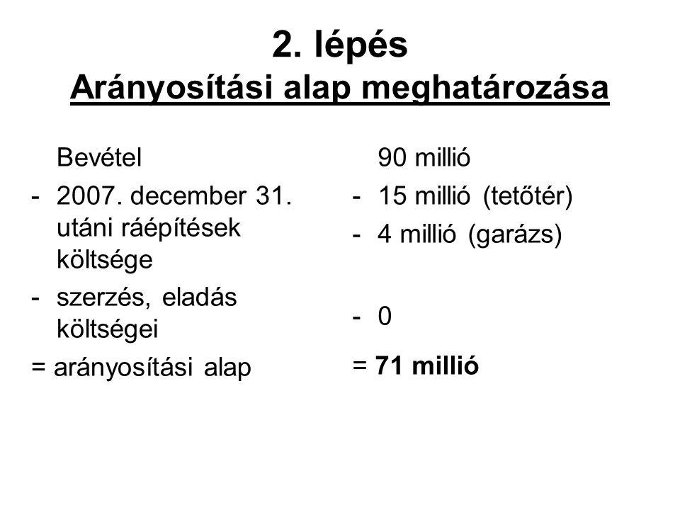 2. lépés Arányosítási alap meghatározása Bevétel -2007. december 31. utáni ráépítések költsége -szerzés, eladás költségei = arányosítási alap 90 milli