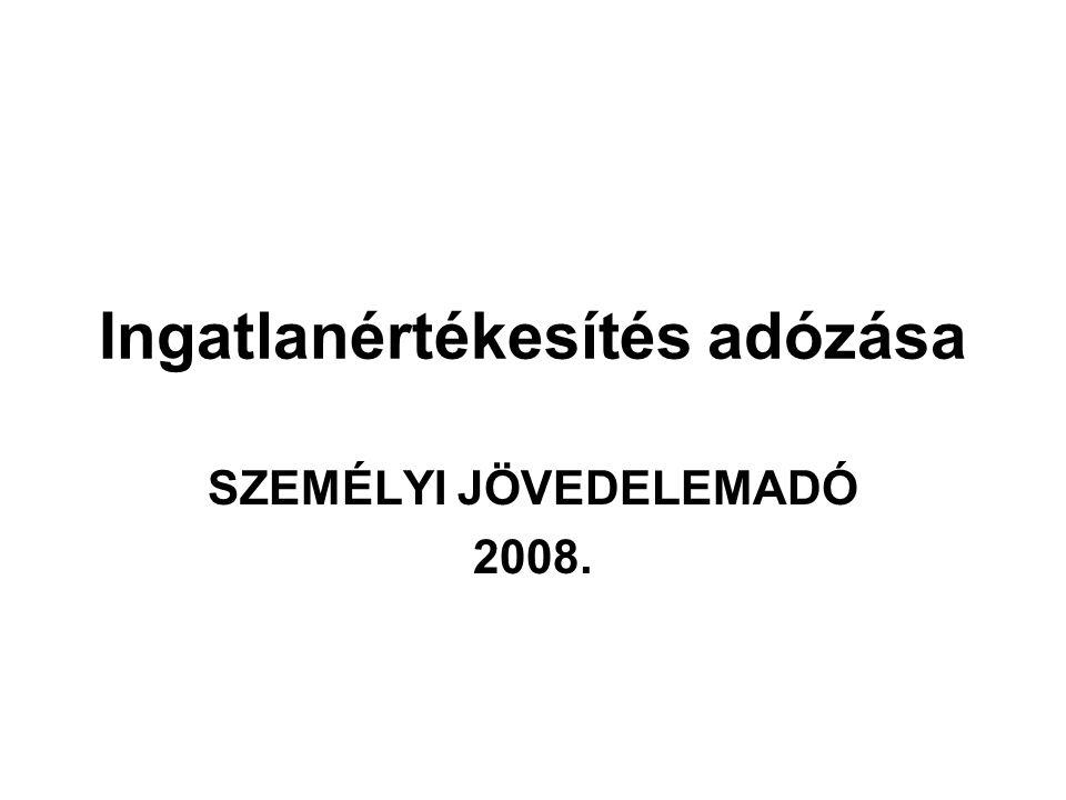 Ingatlanértékesítés adózása SZEMÉLYI JÖVEDELEMADÓ 2008.