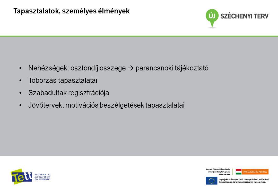 """I.Előzmény - 2007: """"Vissza a társadalomba II. TÁMOP 5.6.2 Programszakaszok: 1."""
