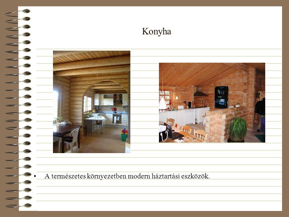 Konyha •A természetes környezetben modern háztartási eszközök.