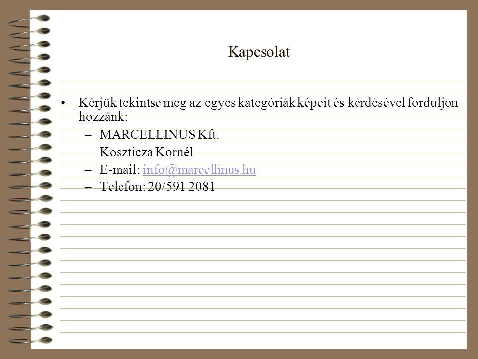 Kapcsolat •Kérjük tekintse meg az egyes kategóriák képeit és kérdésével forduljon hozzánk: –MARCELLINUS Kft. –Koszticza Kornél –E-mail: info@marcellin