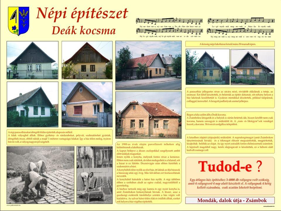 A népi építészet jellemző a településre. A községben még most is sok vályogból épült tornácos faoromzatú ház áll. Egyik híres épület a ma már nem láth