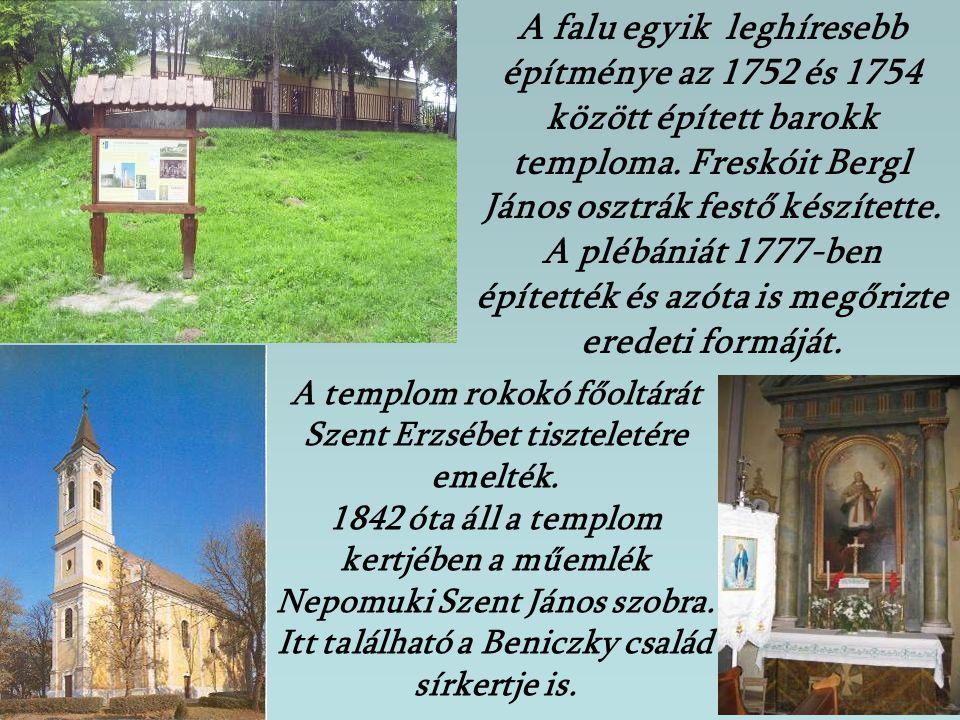 A falu egyik leghíresebb építménye az 1752 és 1754 között épített barokk temploma. Freskóit Bergl János osztrák festő készítette. A plébániát 1777-ben