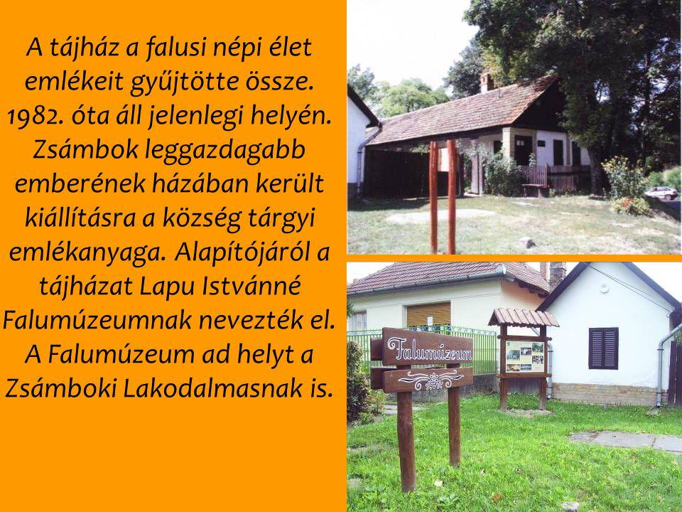 A tájház a falusi népi élet emlékeit gyűjtötte össze. 1982. óta áll jelenlegi helyén. Zsámbok leggazdagabb emberének házában került kiállításra a közs