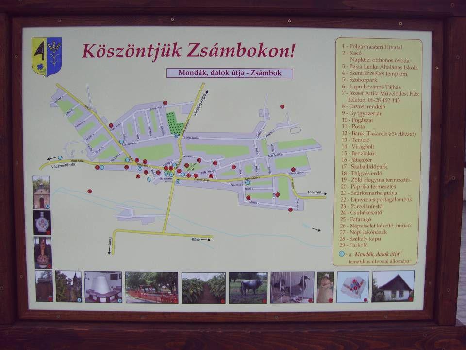 A település határában található táblán a község történetét ismerhetjük meg.