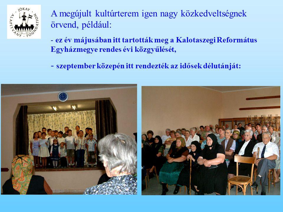 A gyermekek tanulásának, művelődésének támogatása 2008-ban: •március: a Nemzeti ünnepen tartott ünnepség utáni szeretetvendégségen a szereplő gyermekek megjutalmazása •június: a tanévzáró ünnepségen a kimagasló tanulmányi eredményt elért gyermekek jutalmazása könyvvel •július: 25 iskolás és óvodás gyermek kirándulásának támogatása a Nagyvárad melletti Félix-fürdőre •augusztus: 32 sárvásári és nyárszói gyermek részvételének támogatása az egyhetes nyárszói hagyományőrző alkotói táborban