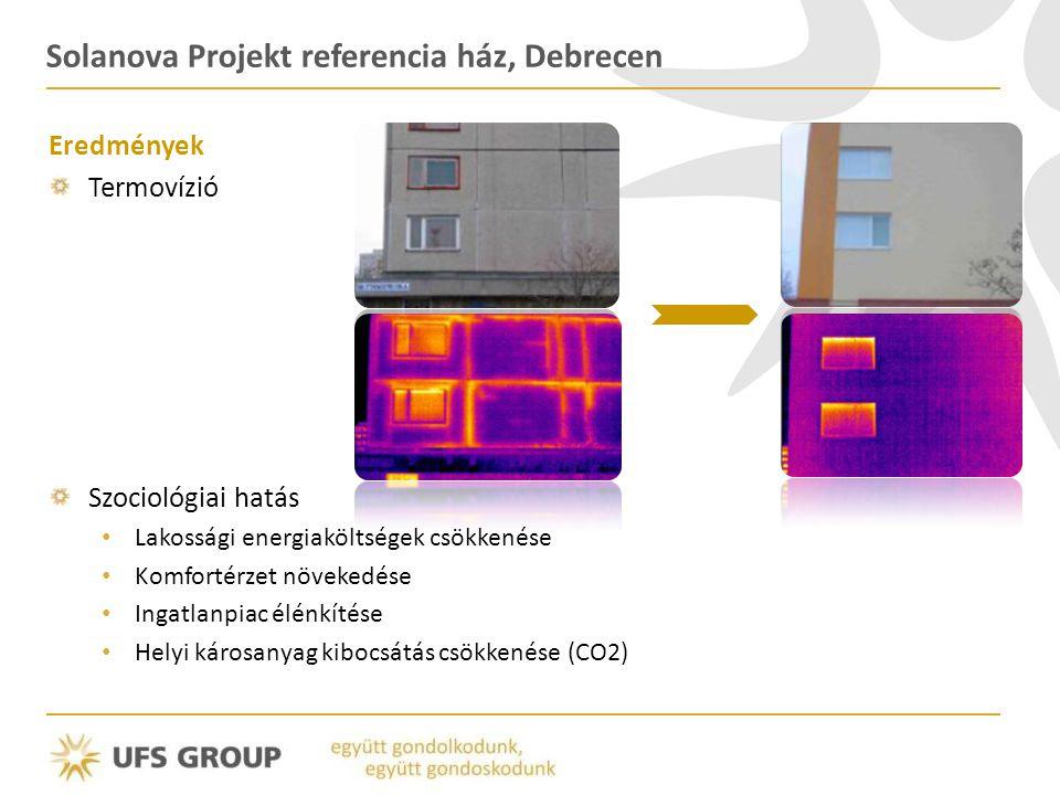 Solanova Projekt referencia ház, Debrecen Eredmények Termovízió Szociológiai hatás • Lakossági energiaköltségek csökkenése • Komfortérzet növekedése • Ingatlanpiac élénkítése • Helyi károsanyag kibocsátás csökkenése (CO2)
