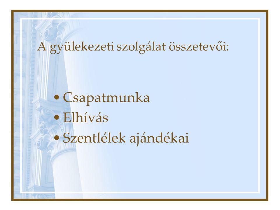 A gyülekezeti szolgálat összetevői: •Csapatmunka •Elhívás •Szentlélek ajándékai