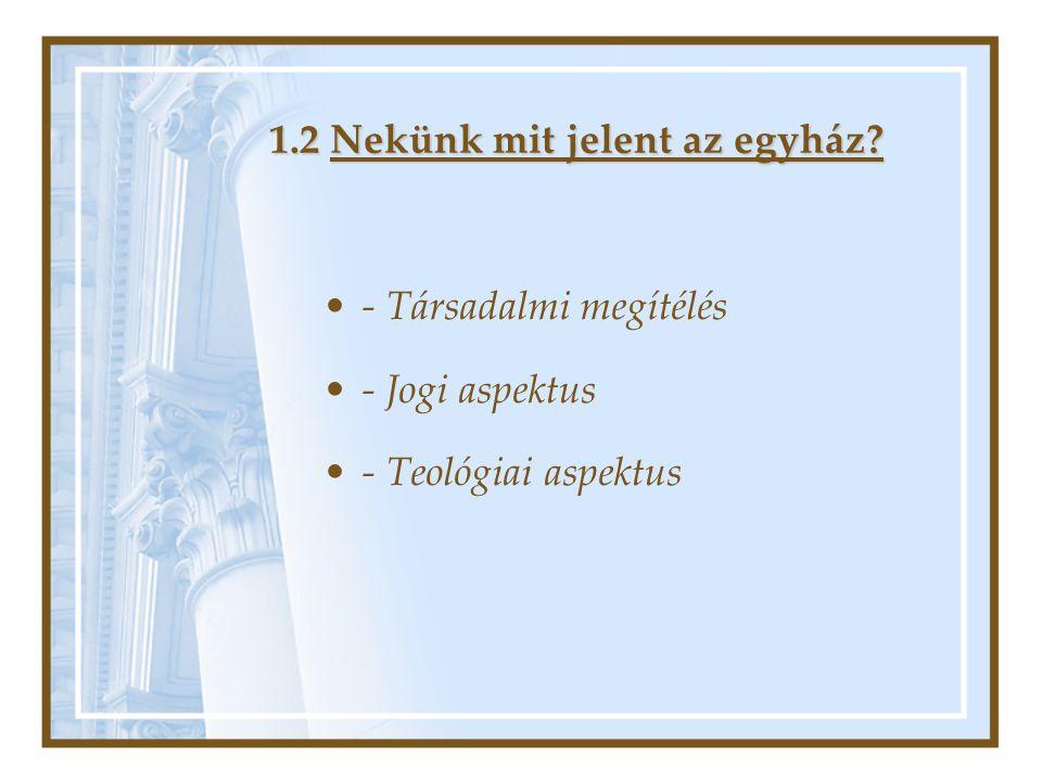 1.2 Nekünk mit jelent az egyház? •- Társadalmi megítélés •- Jogi aspektus •- Teológiai aspektus