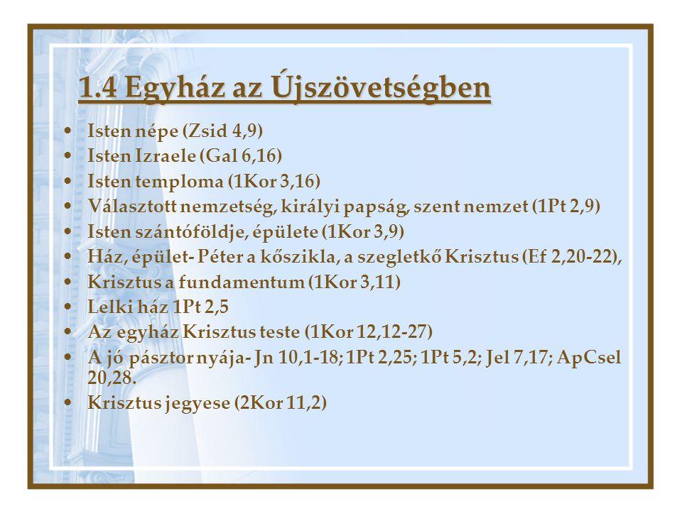 1.4 Egyház az Újszövetségben •Isten népe (Zsid 4,9) •Isten Izraele (Gal 6,16) •Isten temploma (1Kor 3,16) •Választott nemzetség, királyi papság, szent