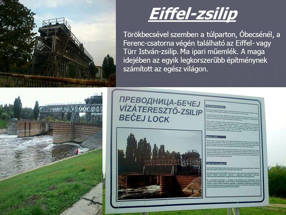 Eiffel-zsilip Törökbecsével szemben a túlparton, Óbecsénél, a Ferenc-csatorna végén található az Eiffel- vagy Türr István-zsilip. Ma ipari műemlék. A