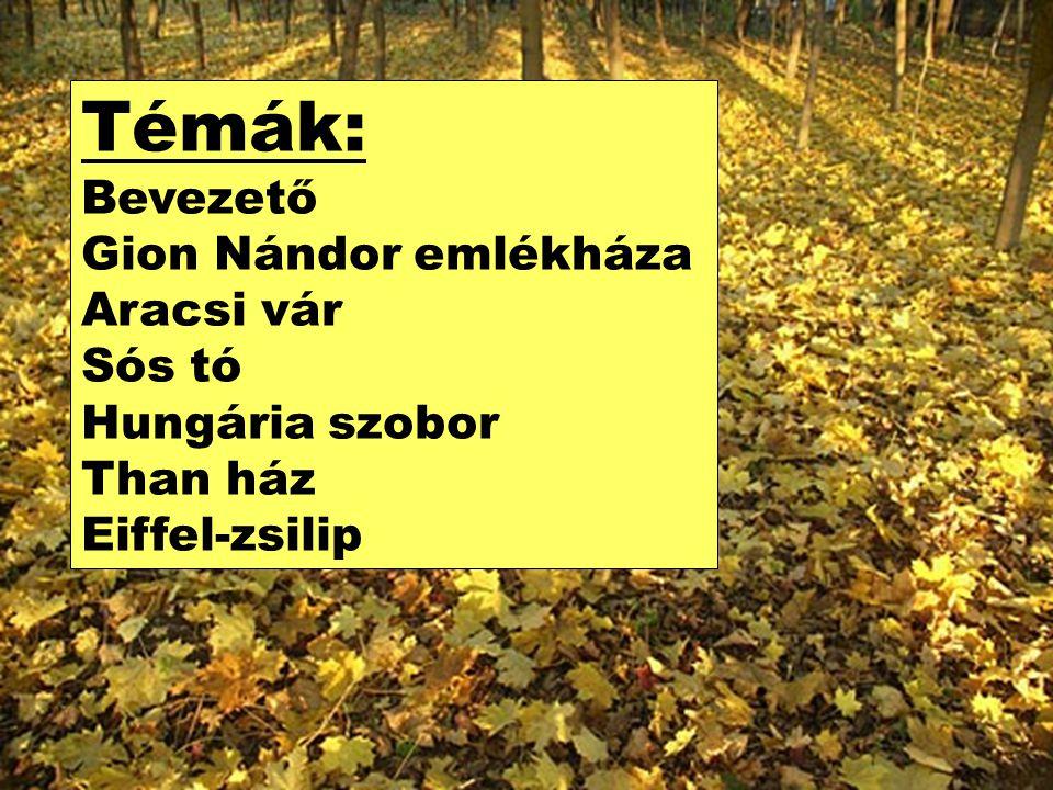 Témák: Bevezető Gion Nándor emlékháza Aracsi vár Sós tó Hungária szobor Than ház Eiffel-zsilip