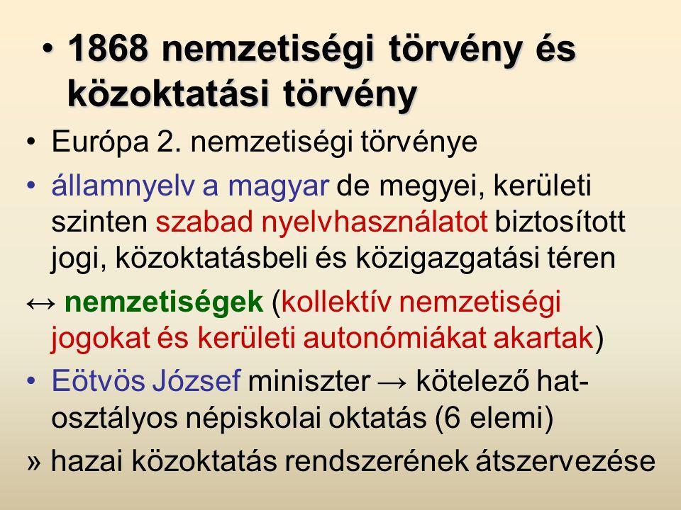 •1868 nemzetiségi törvény és közoktatási törvény •Európa 2. nemzetiségi törvénye •államnyelv a magyar de megyei, kerületi szinten szabad nyelvhasznála