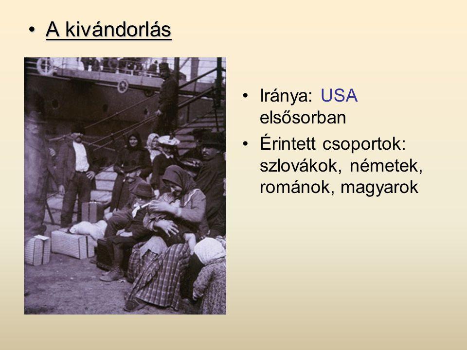 •A kivándorlás •Iránya: USA elsősorban •Érintett csoportok: szlovákok, németek, románok, magyarok
