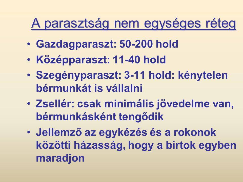 A parasztság nem egységes réteg •Gazdagparaszt: 50-200 hold •Középparaszt: 11-40 hold •Szegényparaszt: 3-11 hold: kénytelen bérmunkát is vállalni •Zse