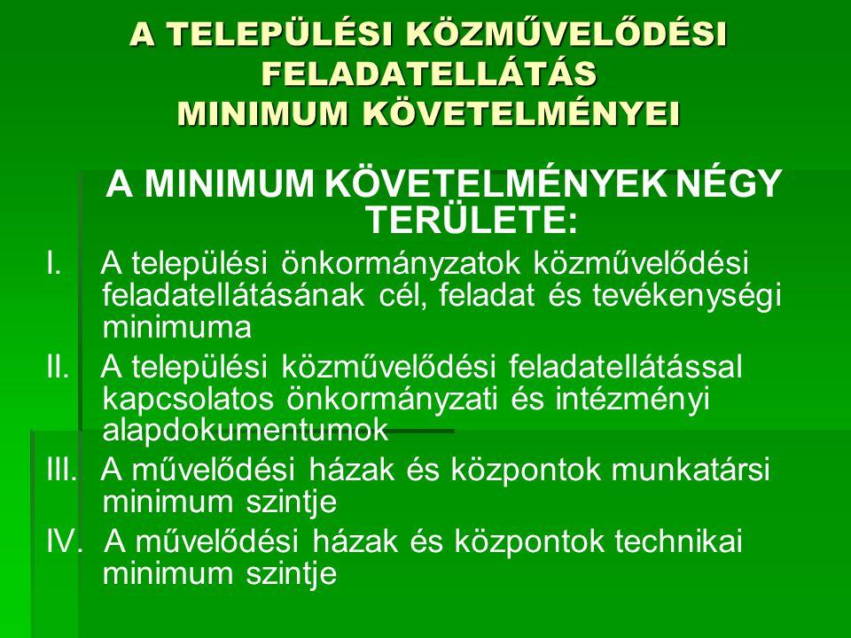 A MINIMUM KÖVETELMÉNYEK NÉGY TERÜLETE: I. A települési önkormányzatok közművelődési feladatellátásának cél, feladat és tevékenységi minimuma II. A tel