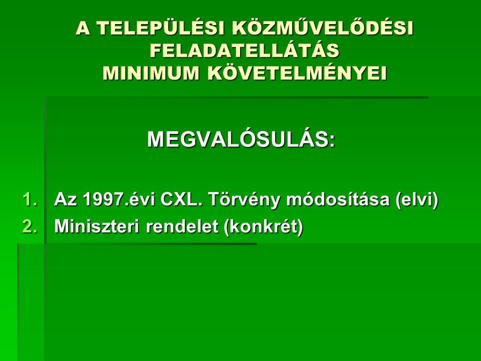 A TELEPÜLÉSI KÖZMŰVELŐDÉSI FELADATELLÁTÁS MINIMUM KÖVETELMÉNYEI MEGVALÓSULÁS: 1.Az 1997.évi CXL. Törvény módosítása (elvi) 2.Miniszteri rendelet (konk