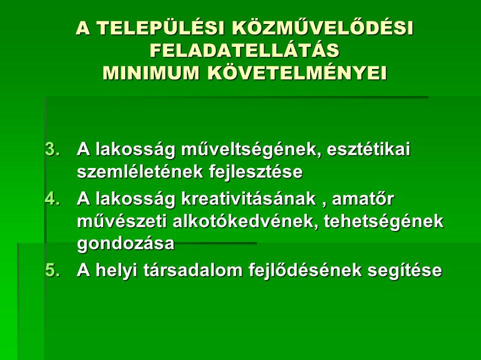 A TELEPÜLÉSI KÖZMŰVELŐDÉSI FELADATELLÁTÁS MINIMUM KÖVETELMÉNYEI II.