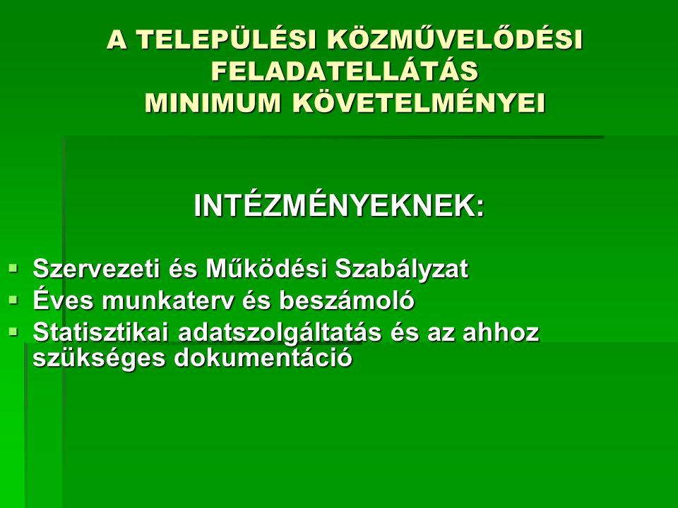 A TELEPÜLÉSI KÖZMŰVELŐDÉSI FELADATELLÁTÁS MINIMUM KÖVETELMÉNYEI III.