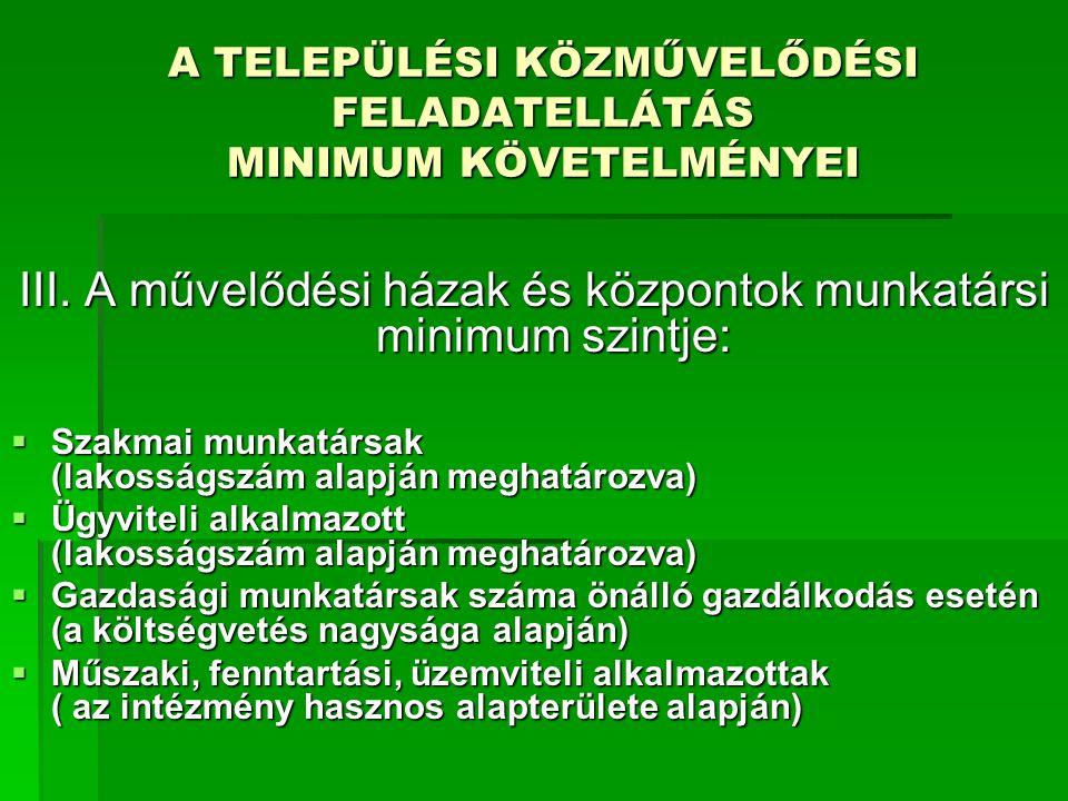 A TELEPÜLÉSI KÖZMŰVELŐDÉSI FELADATELLÁTÁS MINIMUM KÖVETELMÉNYEI III. A művelődési házak és központok munkatársi minimum szintje:  Szakmai munkatársak