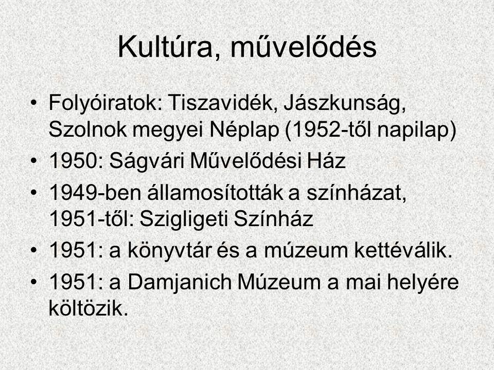 Kultúra, művelődés •Folyóiratok: Tiszavidék, Jászkunság, Szolnok megyei Néplap (1952-től napilap) •1950: Ságvári Művelődési Ház •1949-ben államosított
