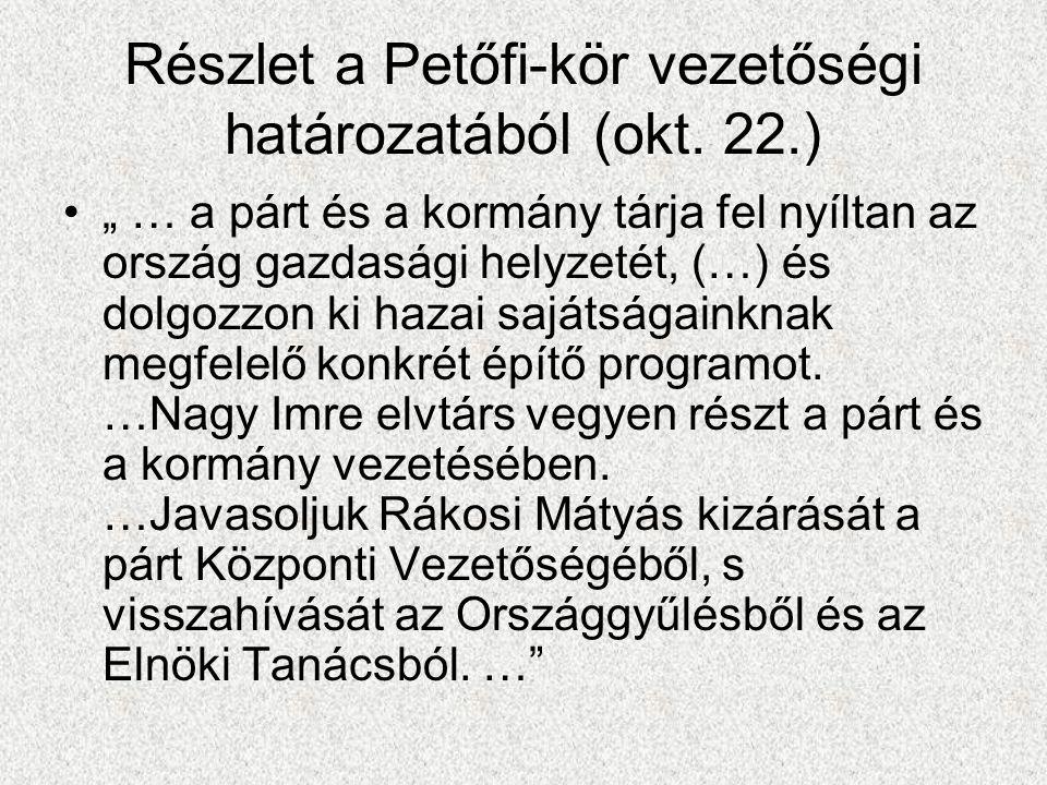 """Részlet a Petőfi-kör vezetőségi határozatából (okt. 22.) •"""" … a párt és a kormány tárja fel nyíltan az ország gazdasági helyzetét, (…) és dolgozzon ki"""