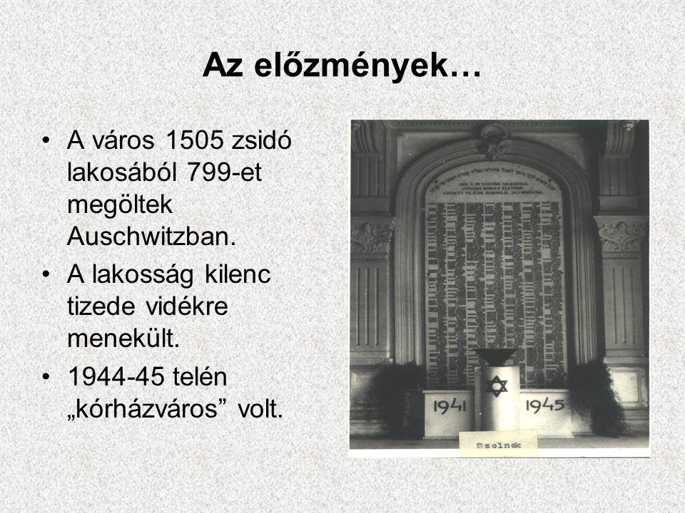 """Az előzmények… •A város 1505 zsidó lakosából 799-et megöltek Auschwitzban. •A lakosság kilenc tizede vidékre menekült. •1944-45 telén """"kórházváros"""" vo"""