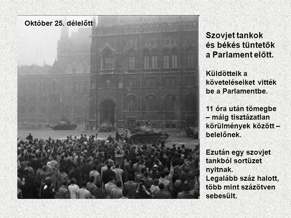 Szovjet tankok és békés tüntetők a Parlament előtt. Küldötteik a követeléseiket vitték be a Parlamentbe. 11 óra után tömegbe – máig tisztázatlan körül