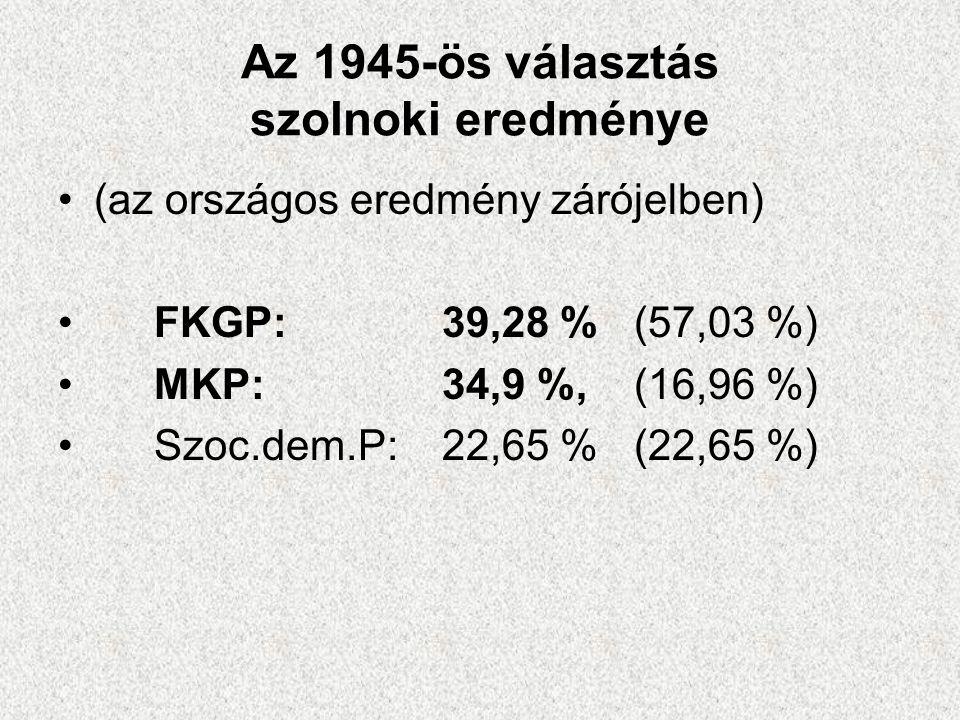 Az 1945-ös választás szolnoki eredménye •(az országos eredmény zárójelben) •FKGP: 39,28 % (57,03 %) •MKP: 34,9 %, (16,96 %) •Szoc.dem.P: 22,65 % (22,6
