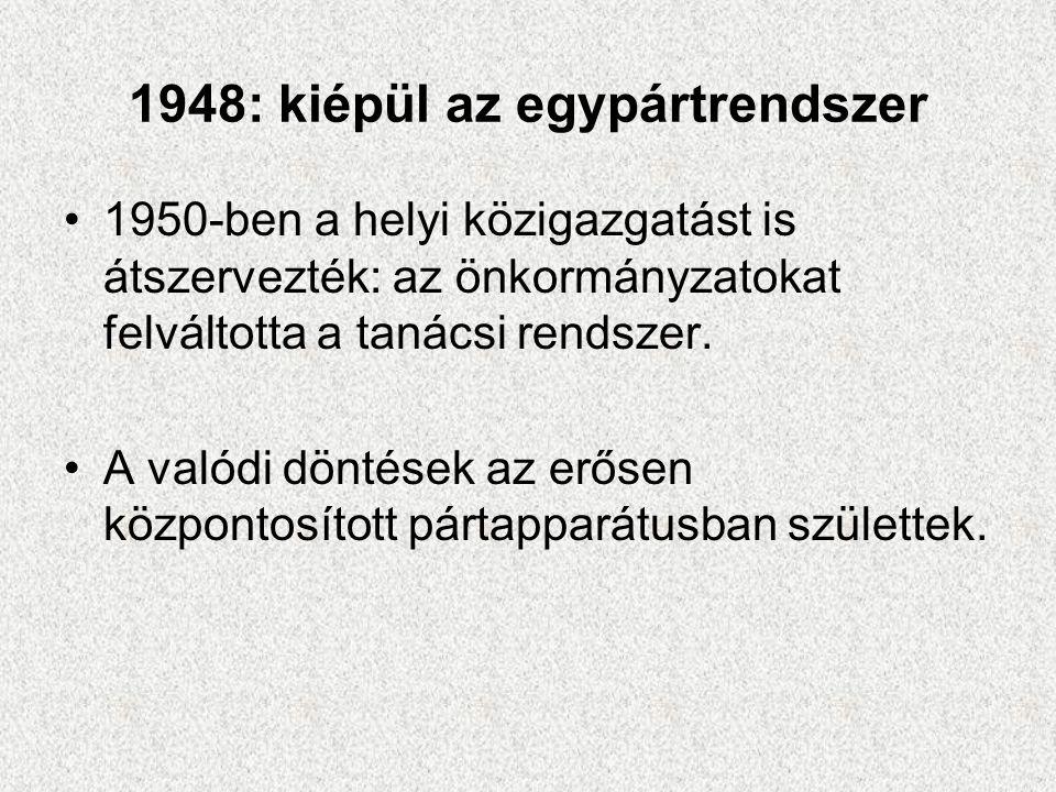 1948: kiépül az egypártrendszer •1950-ben a helyi közigazgatást is átszervezték: az önkormányzatokat felváltotta a tanácsi rendszer. •A valódi döntése