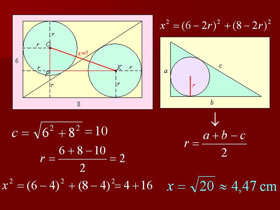 1. feladat Egy téglalap oldalai 6 cm és 8 cm. A téglalap egyik átlója két egybevágó derékszögű három- szögre bontja a téglalapot. Számítsa ki e két há