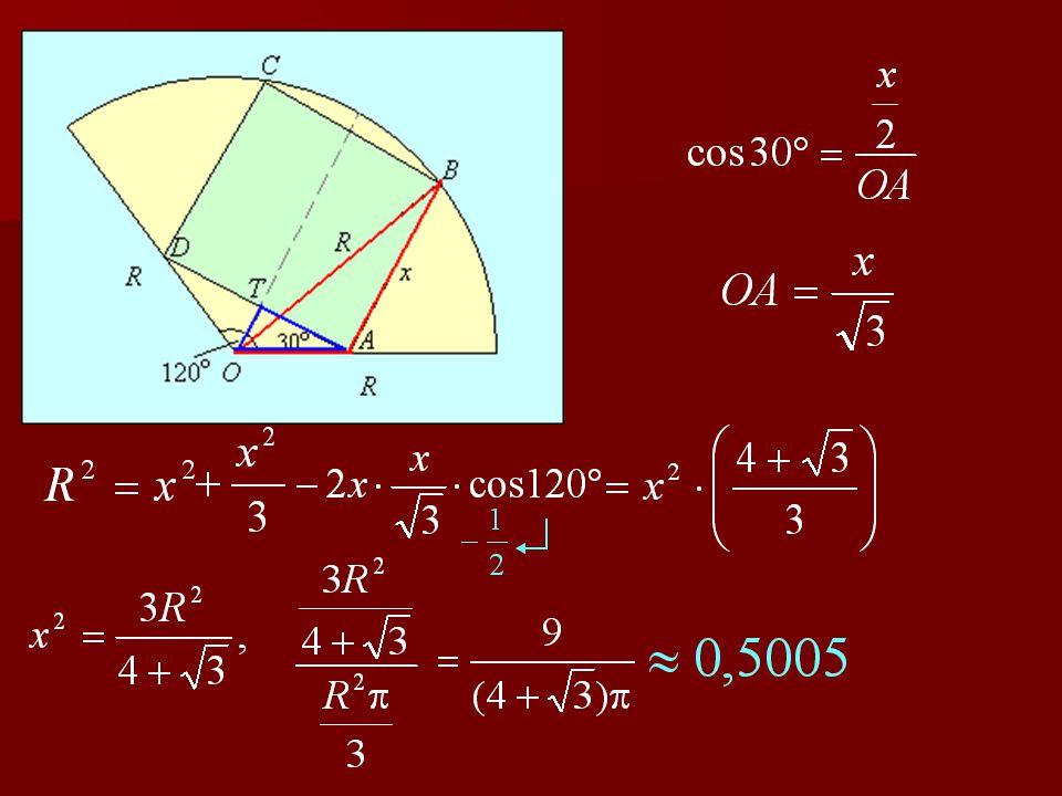 3. feladat Egy 120 o -os körcikk alakú telekre négyzet alapterületű házat szeretnénk építeni; a négyzet egy-egy csúcsa egy- egy sugárra, két csúcsa pe