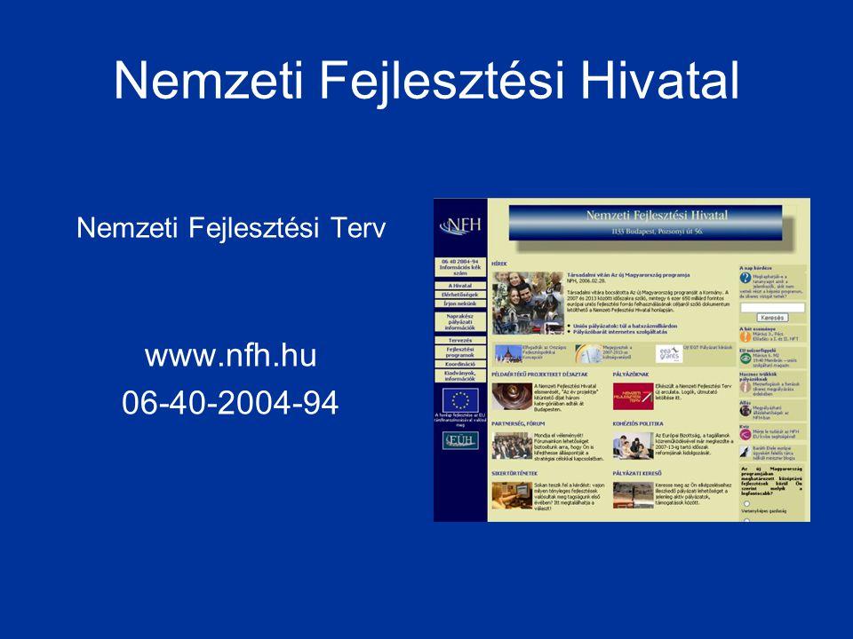 Nemzeti Fejlesztési Hivatal Nemzeti Fejlesztési Terv www.nfh.hu 06-40-2004-94