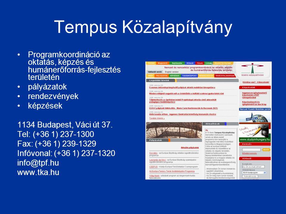 Tempus Közalapítvány •Programkoordináció az oktatás, képzés és humánerőforrás-fejlesztés területén •pályázatok •rendezvények •képzések 1134 Budapest,