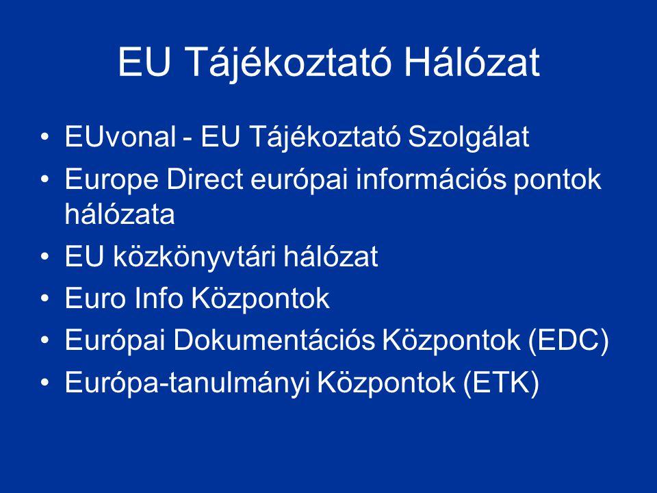EU Tájékoztató Hálózat •EUvonal - EU Tájékoztató Szolgálat •Europe Direct európai információs pontok hálózata •EU közkönyvtári hálózat •Euro Info Közp