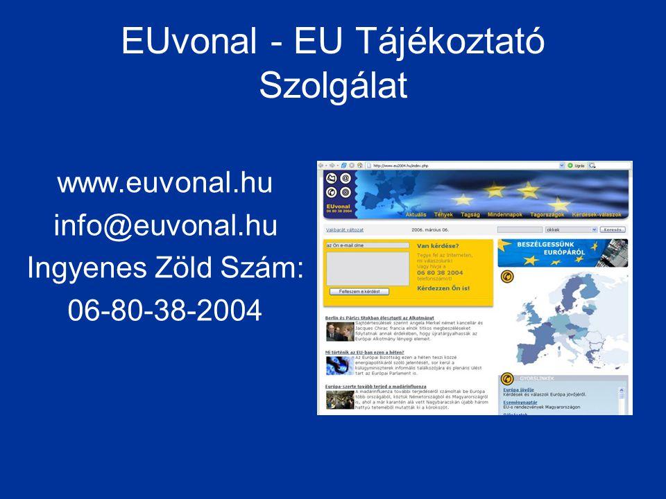 EUvonal - EU Tájékoztató Szolgálat www.euvonal.hu info@euvonal.hu Ingyenes Zöld Szám: 06-80-38-2004