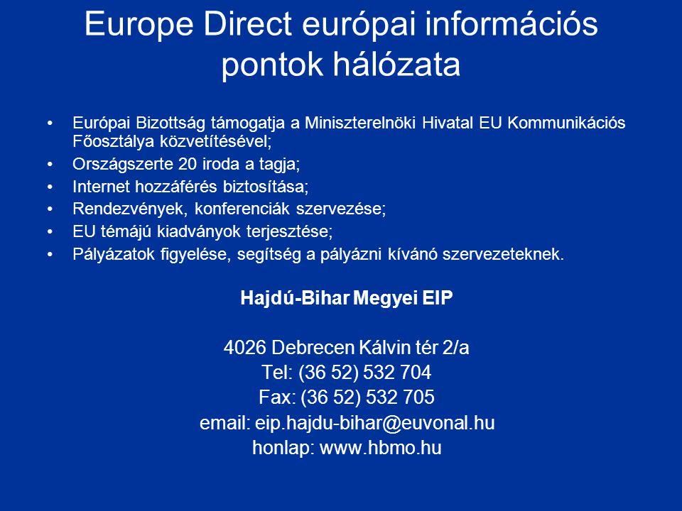 Europe Direct európai információs pontok hálózata •Európai Bizottság támogatja a Miniszterelnöki Hivatal EU Kommunikációs Főosztálya közvetítésével; •